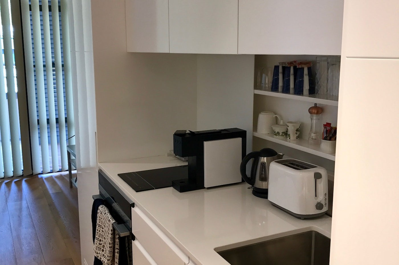 Kitchen at Vulcan Hotel studio apartment